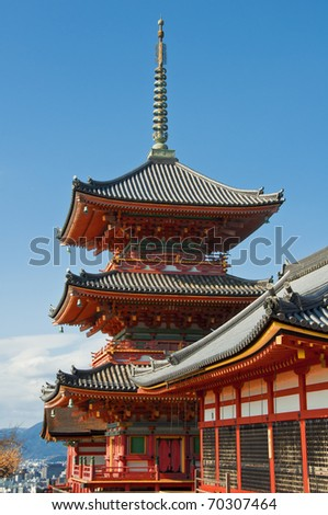 japanese temples in kyoto/kyomizu taken in january. - stock photo