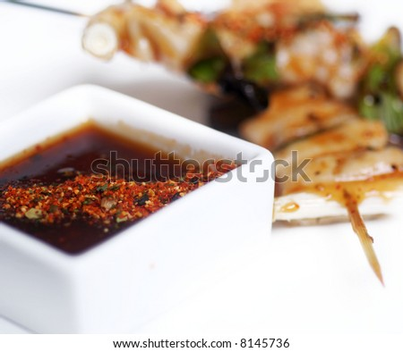 Japanese tender chicken on a stick, kebabs - stock photo