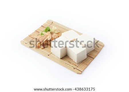 Japanese tofu, Japanese soft cold tofu on white background - stock photo