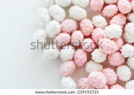 Japanese traditional confectionery, red & white Fukumame  - stock photo