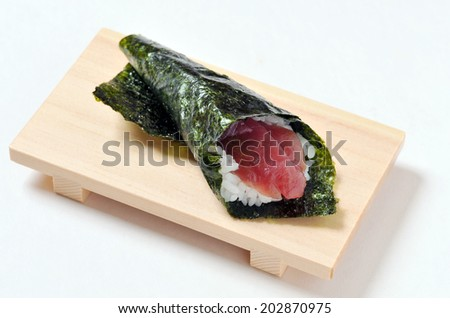 Japanese traditional cuisine-Sushi temaki on wooden plate isolated over white background-6 - stock photo