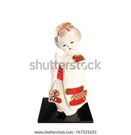 Japanese Traditional Doll Lady in Kimono Isolated on White Background, Clipping Path