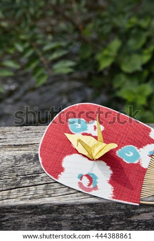 Japanese traditional fan and origami - stock photo