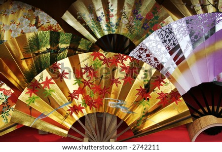 Japanese traditional fans - stock photo