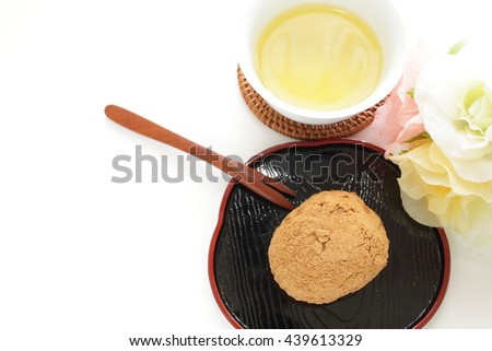 Japanese traditional food, Ohagi with soy bean powder coating - stock photo