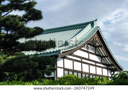 japanese traditional house in a green park of Tokyo - stock photo