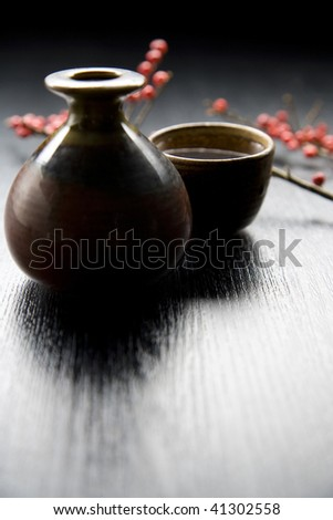 Japanese traditional sake serving set with branch of red fruits - stock photo