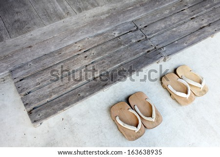 Japanese traditional wood sandals - stock photo