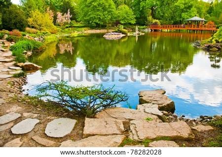Japanese water garden - stock photo