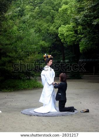 Japanese wedding ceremony - stock photo