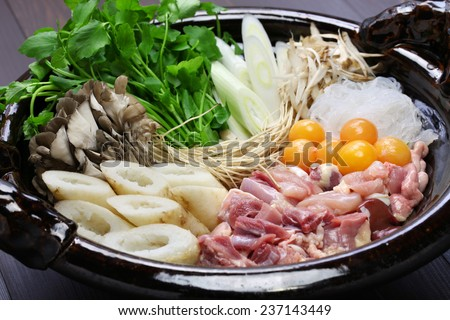 japanese winter cuisine, kritanpo nabe with hinaizidori, chicken hot pot - stock photo