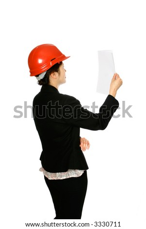 Japanese woman architect holding up a white paper, isolated on white