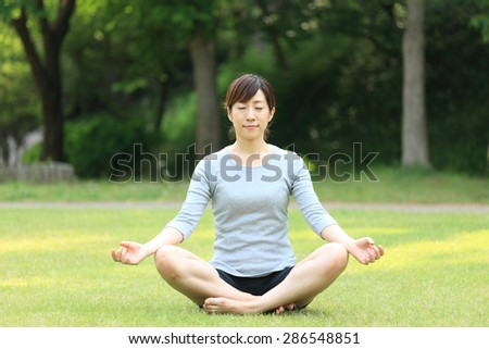 Japanese woman doing meditation