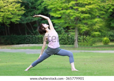 Japanese woman doing yoga