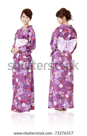 Japanese woman in traditional clothes of Kimono with front and back view, full length portrait isolated on white background.