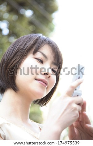 Japanese woman on the phone