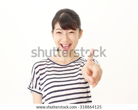 Japanese woman pointing front