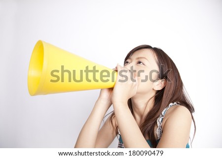 Japanese woman screaming through megaphone