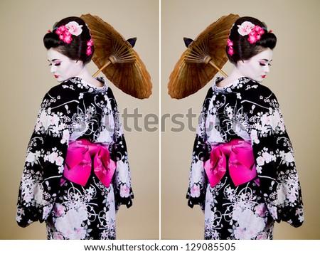 Japanese Woman Umbrella Japanese Woman Shows Kimono
