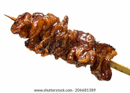 Japanese yakitori isolated on white background - stock photo