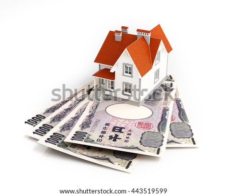 Japanese yen banknotes under house. 3d rendering. - stock photo