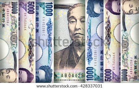 Japanese Yen bills creating a colorful background