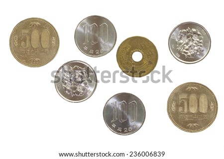 Japanese yen coin isolated on white background