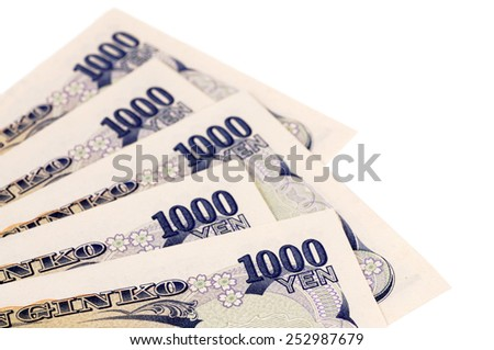 Japanese Yen : Japanese 1000 Yen currency bills isolated.