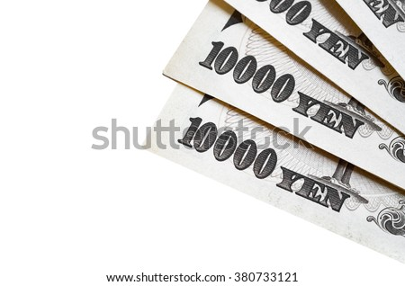 Japanese 10000 yen notes. Imperial Japanese Paper Currency on white background