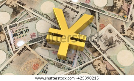 Japanese Yen symbol and banknote background, 3D rendering and illustration. - stock photo