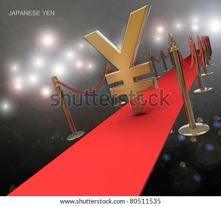 Japanese yen symbol on a red carpet isolated on white background 3d render