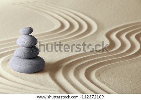 japanese zen garden meditation stone concept for balance harmony and relaxation - stock photo