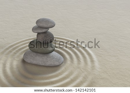 Japanese zen garden meditation stone for concentration and relaxation - stock photo
