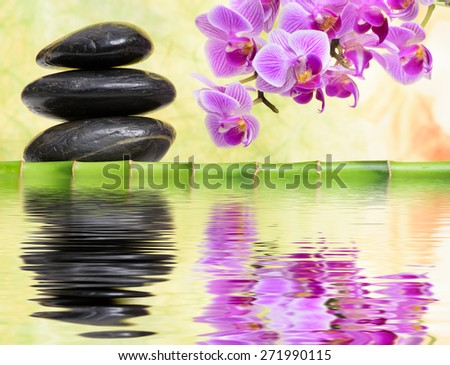 Japanese ZEN garden with feng shui and mirroring in water - stock photo
