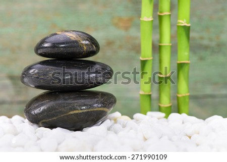 Japanese ZEN garden with feng shui and stacked stones - stock photo