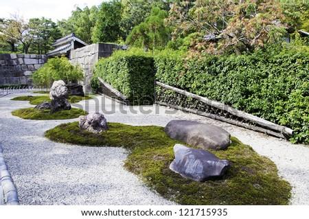 Japanese zen gardens in Kyoto, Japan - stock photo