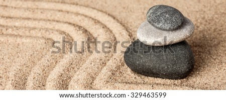 Japanese Zen stone garden - relaxation, meditation, simplicity and balance concept  - letterbox panorama of pebbles and raked sand tranquil calm scene - stock photo