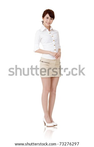 Japaneses business woman, full length portrait isolated on white background.