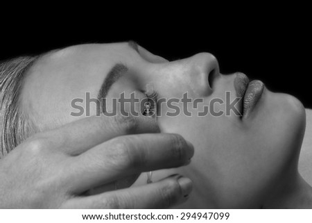 Japaness eyelash extention in black and white - stock photo
