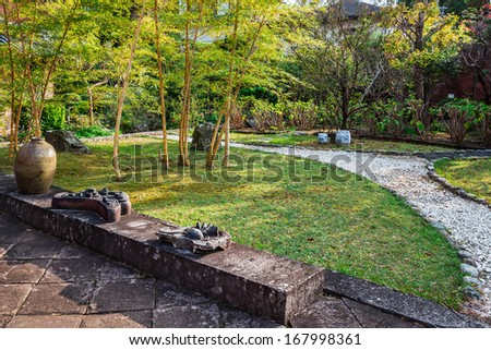Japnese Garden at Kofukuji Temple in Nagasaki - stock photo
