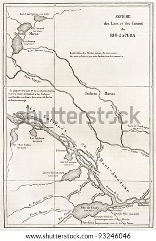 Japura river basin old map. By unidentified author, published on Le Tour du Monde, Paris, 1867 - stock photo