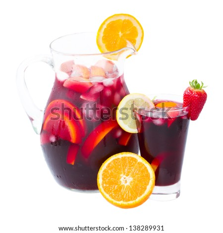 jar  and tall glass of cold sangria wine isolated on white background - stock photo