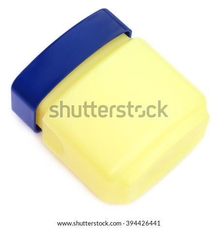 Jar for petroleum jelly over white background - stock photo
