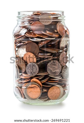 Jar full of coins - stock photo