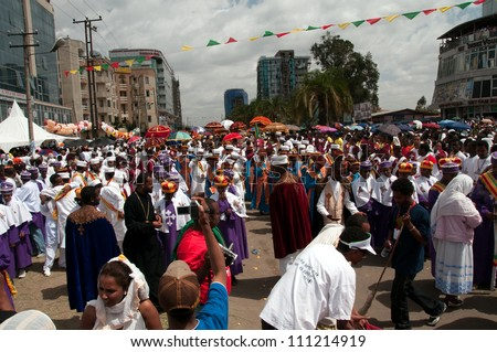 JAR MADA, ADDIS ABEBA - JAN 18:  Ethiopian Orthodox celebration of Epiphany. It is celebrated on January 19 each year during the Timkat Festival. January 18, 2012 in Jar Mada, Addis Ababa, Ethiopia