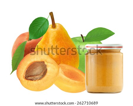 jar of baby puree and fresh apricot, peach, apple and pear isolated on white background - stock photo