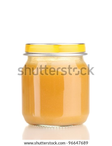Jar of baby puree isolated on white