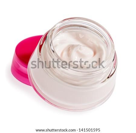 Jar of cream for body care. Clem face. Hand cream. - stock photo