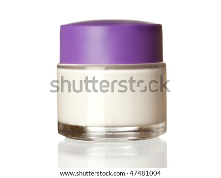 Jar of face cream isolated on white background with reflection - stock photo