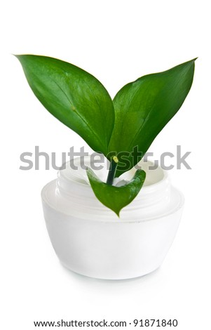 jar of face cream on a white background with green leaves - stock photo